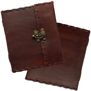"""6"""" Real Leather Handmade Vintage Journal Sketchbook Diary Lock Handmade Paper"""