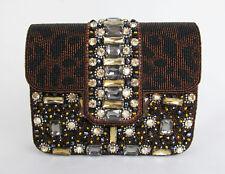Mary Frances Black/Brown/Gold Rhinestone Leopard Clutch Shoulder Purse - NEW