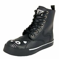 T.U.K. Classic Kitty Cat Face & Tail Black 7 Eye & Zip Combat Sneaker Boots