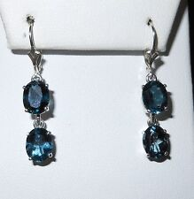 STERLING SILVER .925 LONDON BLUE TOPAZ 9X7MM OVAL 10CTW LEVER BACK NEW !!!!