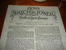 """""""Zion's Watch Tower"""" 1899 Jan. 1  Watchtower  C.T. Russell Bible Students IBSA"""