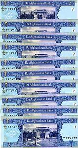 LOT Afghanistan, 10 x 2 Afghanis, 2002, Pick 65, UNC