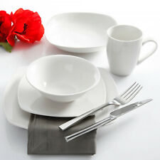 30-Piece Dinnerware Set Square Plates Bowls White Porcelain 6 Serving Settings