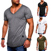 Men Summer V Neck T-shirt Slim Short Sleeve Sports Gym Running Muscle Tee Top