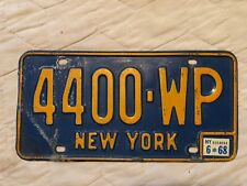 1968 NEW YORK LICENSE PLATE 4400 WP