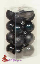 Christmas Tree Decoration - 50mm Black Baubles - 16 Pack