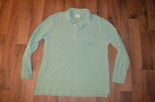 LACOSTE Mens Size 7 XL Vintage Washed Long Sleeve Polo Shirt Green Cotton