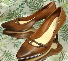 COLE HAAN BROWN LEATHER LOAFERS SLIP ON WORK DRESS SHOES HEELS WOMENS SZ 7.5 B
