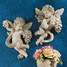 Cherub Harvest Design Toscano Wall Sculptures with Antique Stone Finish