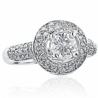 1.1/2 TCW Round Cut Diamond Engagement Halo Ring 14k White Gold