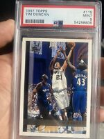 TIM DUNCAN 1997-98 Topps #115 Graded PSA 9 Mint RC card San Antonio Spurs HOF 🔥