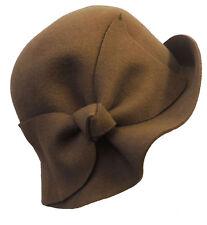 Stile Retrò Vintage Anni 1920 30 S Stile Marrone Feltro Cloche Flapper Cappello Con Fiocco