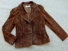 JUST JEANS BROWN GENUINE SUEDE LEATHER Women's Jacket Size 14