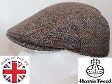 Genuine Harris Tweed Flat Cap Green with Rust stripe 61CM XXL NEW