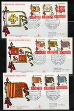 SOVEREIGN ORDER OF MALTA 1967 SET OF THREE FLAG  FIRST DAY COVERS