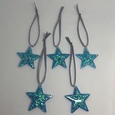 5 x Mermaid Blue glitter star resin Christmas tree decorations bauble 3.5 Cm