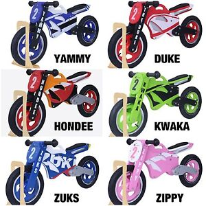 Kidzmotion Wooden Motorbike Balance bike / running bike / first bike with stand