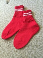 New Hand Knitted Custom Wool Red Socks Size 7-8