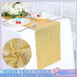 30x275cm Gold Sequin Table Runners Tablecloths Wedding Party Home Event Decorati