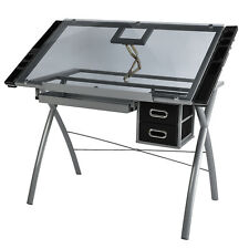 Modern Glass Tabletop Tilted Adjustable Drawing Desk Art Craft Drafting Table