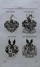 1832 Wappen von Carcani Carlowitz Carow Chaillet d'Arnex Kupferstich Tyroff