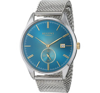 Regent Men's Blue 40mm Stainless Steel Watch with Silver Mesh Strap - 11150676