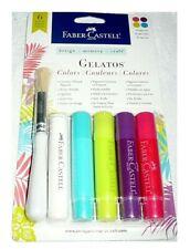Faber-Castell Gelatos 6 pack, w/ Dot Dabber & Brush, Tropical Colors