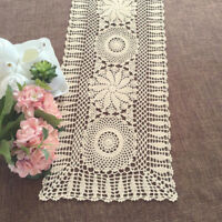 Table Runner Handmade Cotton Crochet Floral Lace Doily Table Decor 13X33inch
