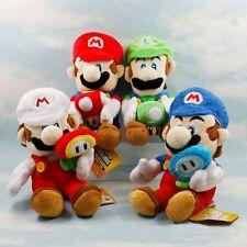 4pcs Super Mario MARIO & LUIGI with Sun ice flower Mushroom 17cm Plush Doll Set