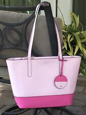 KATE SPADE BRIEL LARGE TOTE SHOULDER BAG PINK FUSCHIA LEATHER LAPTOP $329