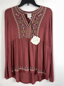 Knox Rose S Top Long Sleeve V-Neck Floral Embroidered Small Women