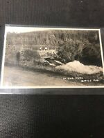 real photo postcard Birtle Woman On Bridge In The Park Birtle Manitoba A1