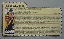 G.I.Joe/Cobra_1985 V1 Quick Kick Peach Filecard!!!