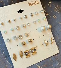 NEW Mudd Stud Earrings Gift Set 15 Pairs Gold & Silver Tone