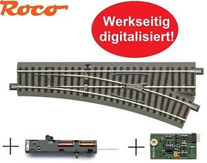 Roco H0 61141 geoLine Weiche rechts + Antrieb 61195 + Digital-Decoder 61196 NEU