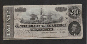 20 DOLLARS FINE- BANKNOTE FROM CONFEDERATE STATES OF AMERICA 1864