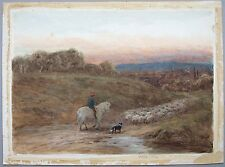 Thomas J Watson (1847-1912). 19th century watercolour of a Shepherd and flock.