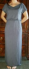 Solid long Maxi Dress Slate blue Size medium 95%Rayon5%spandex NEW IN SEALED BAG