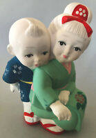 "Super Cute Vintage Asahi Porcelain Bisque Boy And Girl Figurine 7"" Tall Japan"