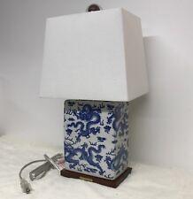 Ralph Lauren Porcelain Table Lamp Navy Blue Dragon Brass Signature Plate New