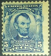 Travelstamps: 1902-03 US Stamps Scott # 304 Lincoln mint og lh 5 cents see scans