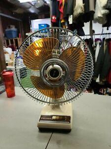Vintage LASKO Electric Fan 12 inch Oscillating 3 speed Amber Brown blades works!