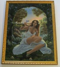 LARGE FANTASY PAINTING MYSTERY ARTIST SIGNED VINTAGE SURREAL SEXY PORTRAIT BIRD