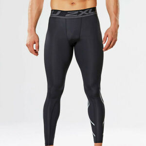 2XU Mens Black Silver Compression Running Gym Long Tights Bottoms Pants
