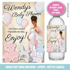 Personalised BABY SHOWER Gender Bottle label Gin Wine Vodka  Friend Girl 178