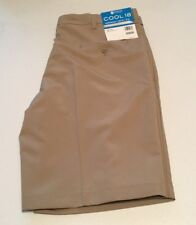 HAGGAR  MEN'S COOL 18 PERFORMANCE SOLID OXFORD FLAT FRONT SHORT SIZE 36  TAN NWT