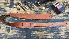 Tan Oiled Saddle Guitar Strap Genuine Cowhide Leather Handmade USA Vintage Rock