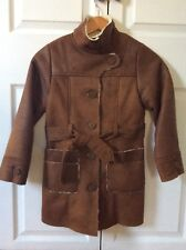 Zara Girls Fur Lined Faux Suede Warm Coat High Neck Long Belt Size 9-10