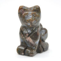 "1.5"" Stone Carving Cat Figurine Texas Llanite Blue Opal Crystal Healing Decor"