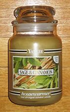 Yankee Candle - 22 oz - SAGE & CINNAMON - Black Band - RARE AND HARD TO FIND!!